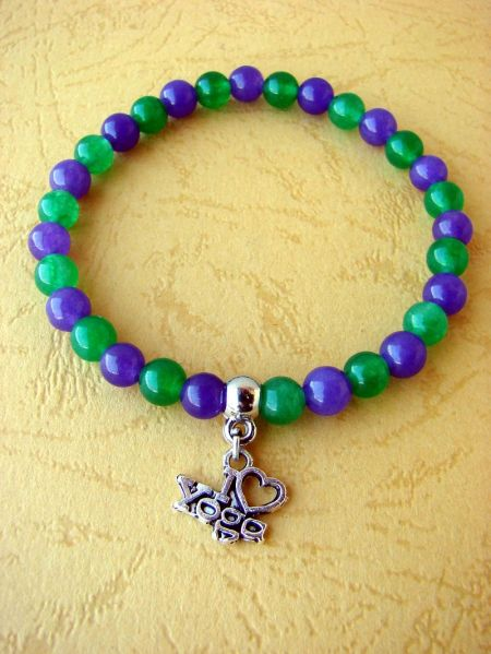 Amethyst and Green Yade with I ♡ Yoga Pendant, Bracelet