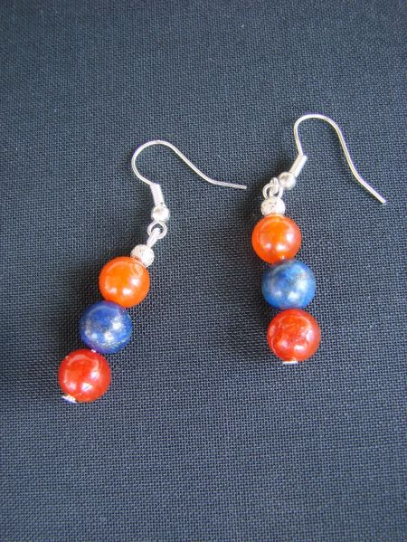 Lapis Lazuli and Carnelian, Earrings