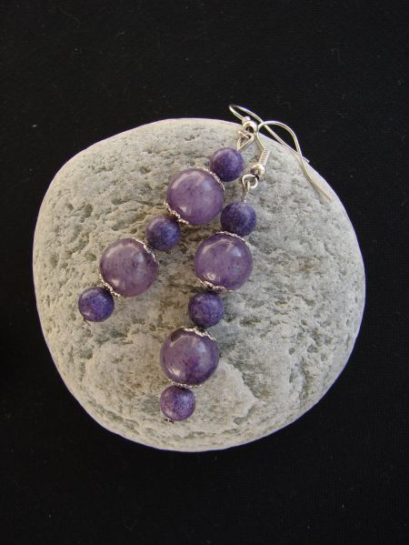 Puple Agate, Earrings