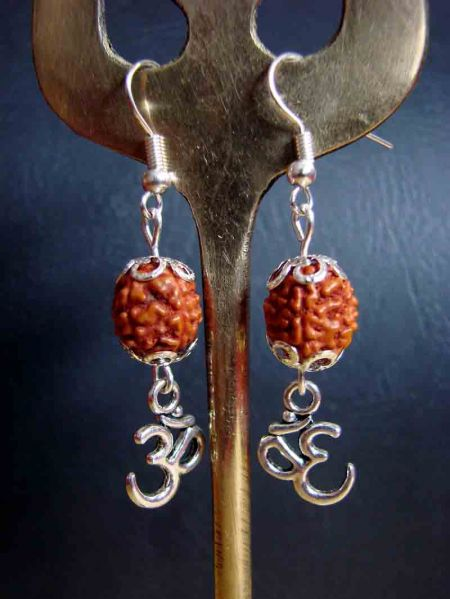 OM and Rudraksha Seed, Earrings