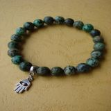 African Turquoise and Hamsa Pendant, Bracelet