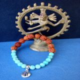 Amazonite and Rudraksha with OM Pendant, Bracelet