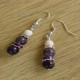 Amethyst and Howlite, Earrings