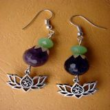 Amethyst and Jade Faceted with Pendant Lotus OM, Earrings