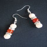 White Howlite and Carnelian, Earrings