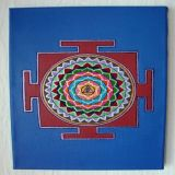 Dattatreya Yantra with Sandal Oil, Cobalt Blue Background
