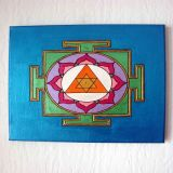 Ganesh Yantra with Turmeric and Lavender, Metallic Blue