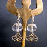 Quartz and Pendant Lotus, Earrings