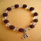 Clear Quartz and Rudraksha with Pendant OM, Bracelet