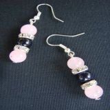 Rose Quartz and Blue Goldstone, Earrings