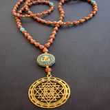 Sunstone, Turquoise-OM and Shree Yantra Pendant - Necklace