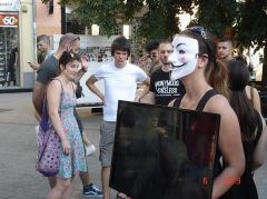 Anonymous for the Voiceless spoke during the Exit fest