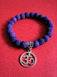 NEW: Purple Lava Stone and OM Pendant, Bracelet
