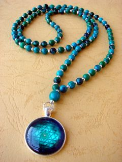 NEW: Chrysocolla and Shree Yantra Pendant, Necklace